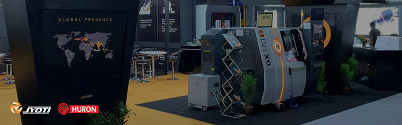 Jyoti is demonstrating the world class metal cutting machines at Delhi Machine Tools Expo, Greater Noida