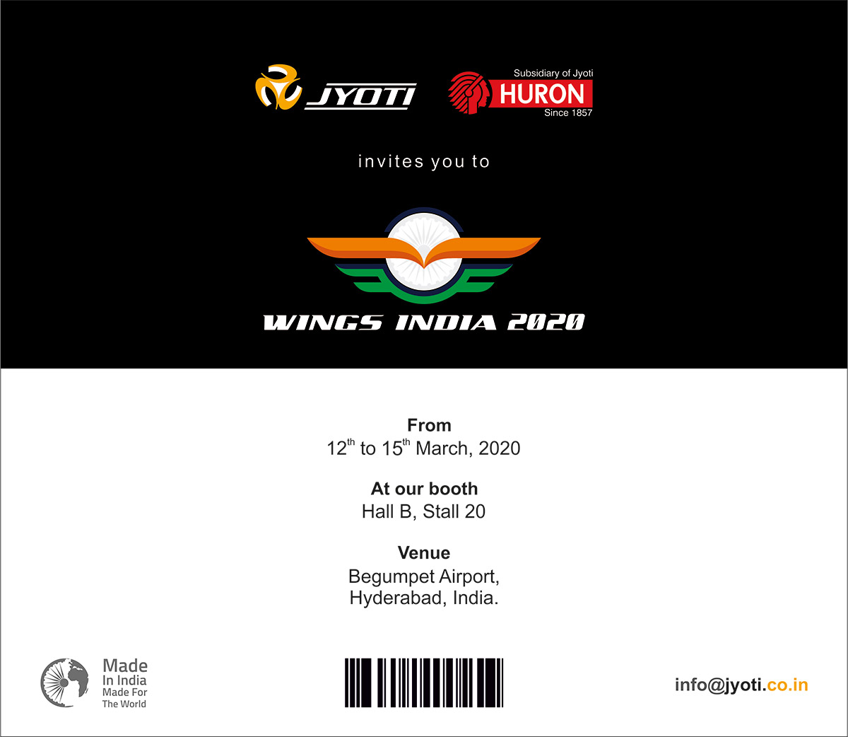 Aspiring presence for Make In India @ Wings India '20